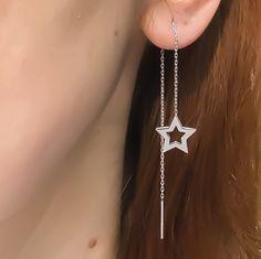 Sterling silver chain earrings, delicate open star silver ear threader earrings, minimalist ear thread earrings, long dainty chain earrings by TrendSilver on Etsy