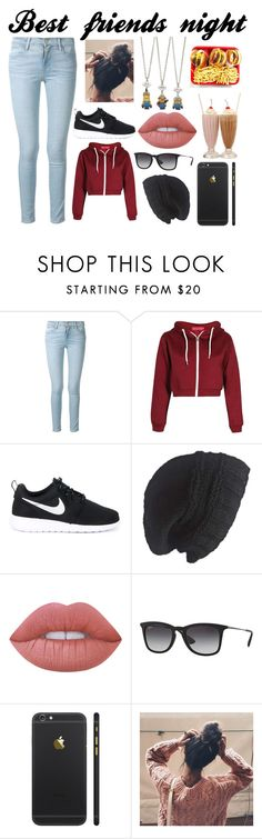 """Girls night in/out"" by andreatatum on Polyvore featuring Frame Denim, NIKE, Laundromat, Lime Crime and Ray-Ban"
