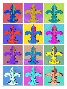 Fleur de Lis Art Large Fleur de Lis Pop Art Print by DonshanArt, $65.00