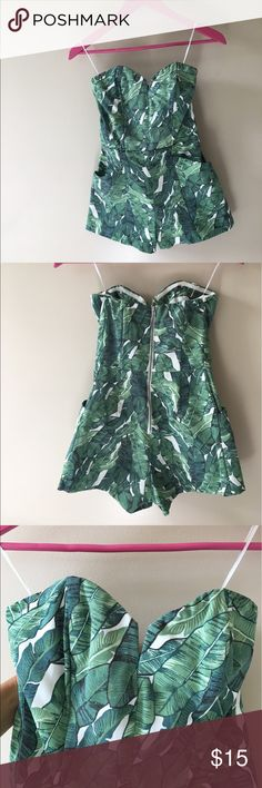 H&M Tropical Romper This Romper is sturdy and has boning in it to maintain its shape. It is a size 4, but I had the top portion altered to fit like a 2. I am 5'7 and it was just long enough. If you are any taller, it might be too short on you. H&M Other
