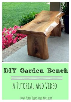 DIY Garden Bench Project Beautiful cherry garden bench - DIY tutorial and video on Front-Porch-Ideas Garden Bench Plans, Outdoor Garden Bench, Outdoor Decor, Garden Benches, Outdoor Seating, Log Benches, Garden Table, Outdoor Projects, Backyard Patio