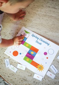 Free printable spring cleaning game! I love how there are tasks for big kids and little kids. Make spring cleaning fun! Post contains sponsored content.