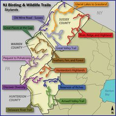 Birding and Wildlife Trail map of Skylands Region of NJ.