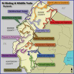 Birding and Wildlife Trail map of Skylands Region of NJ.