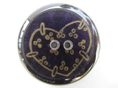 Handmade Resin Buttons: Deep Purple with Gold Hearts