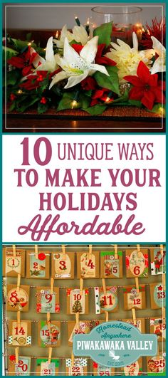 The holiday season is an expensive time. Here are 10 unique ways to make your holidays more affordable from our family to yours. Don't let the stress of spending too much at Christmas be a problem, with these smart tips you can even save money! #frugalchristmas #holidayspending #homesteading #traditions #christmas #holidays