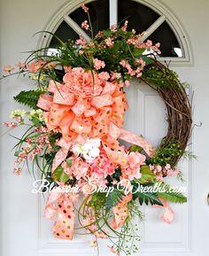 Coral Wreath, Grapevine Wreath, Spring Wreath, Summer Wreath, Door Wreath, Floral Wreath, Coral Grapevine Wreath, Front Door Wreath by BlossomShopWreaths on Etsy
