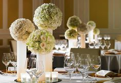 tall cylinder pillars with white floral posies simple stylish place settings - table setting Clare Beckwith Weddings Events Parties: Stylish table settings Hotel Wedding Venues, Wedding Events, Weddings, Purple Table Settings, Flower Decorations, Wedding Decorations, My Perfect Wedding, Dream Wedding, Wedding Inspiration