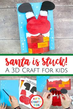 Looking for easy Santa crafts for kids to make this winter? This 3D Santa craft for kids is adorable, featuring a Santa Claus who is stuck in the chimney,   is simple for children to make with our printable Santa craft for kids template. Get the printable craft template for this 3D Santa Claus craft for kids   other Christmas crafts for kids here! 3D Christmas crafts for kids Santa | Paper Satna Crafts for Kids | printable Christmas crafts for kids templates | Christmas Santa Kids Crafts