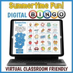 Digital Summer Themed Vocabulary BINGO Game - Distance Learning Activity Fun Classroom Activities, Learning Activities, Bingo Games, Fun Games, Digital Board, Virtual Games, Board Games For Kids, Educational Games For Kids, Summer Games