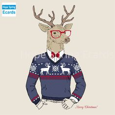 Hand Drawn Vector Illustration of Deer Hipster in Jacquard Sweater, Merry Christmas Card - stock vector Canvas Poster, Canvas Art Prints, Poster Prints, Wall Canvas, Nursery Pictures, Canvas Pictures, Merry Christmas Images, Christmas Crafts, Christmas Ecards