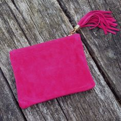 Calf Suede Clutch Bag – Hello Pearl - in deep pink
