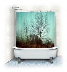 """Trees Shower Curtain """"Quiet Time"""" woods,forest,trees,nature home decor,winter,fall,beige,tan,brown,aqua,landscape,nature,fog"""