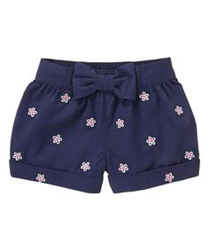 Baby Girl Gym Navy Daisy Shorts by Gymboree Baby Girl Frocks, Frocks For Girls, Little Girl Outfits, Kids Outfits, Baby Girl Fashion, Kids Fashion, Daisy Shorts, Short Niña, African Dresses For Kids
