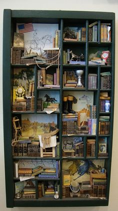 """Miniature mini libraries thematic """"horses, what a passion"""" Altered Boxes, Altered Art, Mini Library, Shadow Box Art, Miniature Rooms, Little Boxes, Miniture Things, Dollhouse Miniatures, Book Art"""