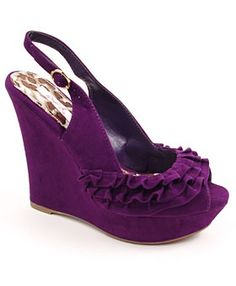 Purple Ruffled Velvet Platform Wedge - Swooooon