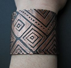 Etched Copper Cuff - Mud Cloth inspired  - handmade copper jewelry - custom patterns available upon request -- inspiration