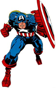 Captain America - art by Jack Kirby Marvel Comics Superheroes, Dc Comics, Marvel Comic Books, Comic Book Heroes, Marvel Characters, Marvel Heroes, Comic Book Characters, Comic Books Art, Marvel Avengers