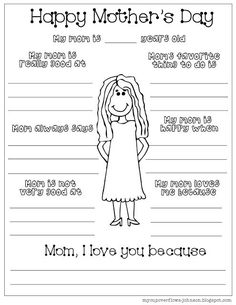 Mothers Day Crafts For Kids Discover Printable All About Mom Page Having kids do an all about mom page for Mothers Day is really fun. It makes a cute keepsake and the answers are usually funny. Here are a couple of printables from My Cup Over Easy Mother's Day Crafts, Mothers Day Crafts For Kids, Fathers Day Crafts, Happy Mothers Day, Mothers Day Ideas, Kids Crafts, Mothers Day Book, Mothers Day Decor, Quick Crafts