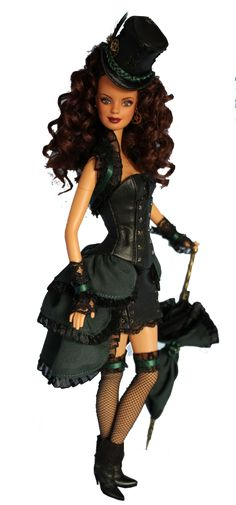 Steampunk Barbie :D She is AWESOME! I want one and I don't even collect Barbie dolls! Steampunk Dolls, Steampunk Fashion, Steampunk Cat, Steampunk Theme, Steampunk Halloween, Gothic Dolls, Steampunk Design, Steampunk Necklace, Steampunk Clothing