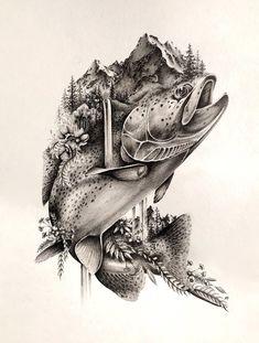 Fly fishing tattoo - fliegenfischen tattoo - tatouage de pêche à la mouche - tatuaje de pesca con mosca - fly fishing women, fly fishing gear, fly fishing flies, fly fishing colorado, Salmon Tattoo, Trout Tattoo, Fish Drawings, Animal Drawings, Tattoo Drawings, Natur Tattoo Arm, Natur Tattoos, Tattoo Oma, Arm Tattoo
