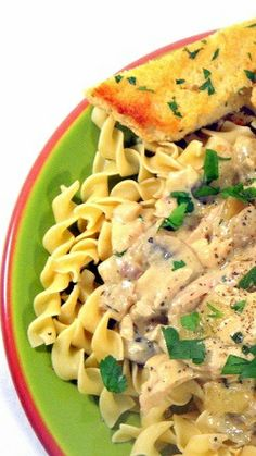 Chicken Mushroom Stroganoff over Egg Noodles... This is FANTASTIC, comes together in minutes (about the time it takes to cook the egg noodles).  Made easy with the meat from a store bought rotisserie chicken... YOU WILL LOVE THIS RECIPE!!!