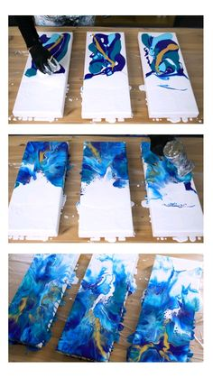 Tutorial video: ocean acrylic pour triptych - Kunst - Acrylic pouring fluid painting ocean triptych tutorial by rinske douna - Acrylic Pouring Art, Acrylic Art, Acrylic Paintings, Pintura Graffiti, Diy Canvas Art, 3 Canvas Painting Ideas, Canvas Art Projects, Diy Painting, Pour Painting