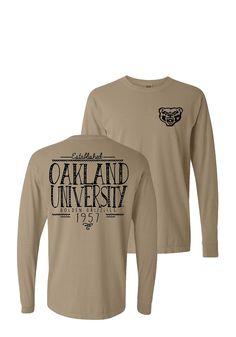 da39f8a5f5bd Oakland University Golden Grizzlies Womens Beige Handwritten LS Tee -  16650187