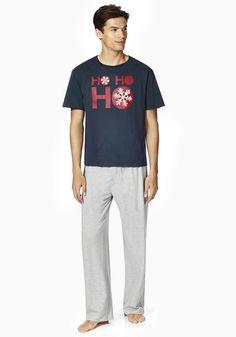 Clothing at Tesco | F&F Ho Ho Ho Slogan Loungewear Set > nightwear > Nightwear & Slippers > Men