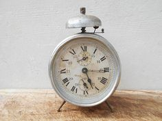 French antique clock , collectible decorative bell clock. French home decor. Mechanical clock, bell alarm.