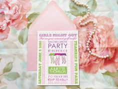 Hen Party Golf Bachelorette Party Invitations by merrymint on Etsy Bachelorette Party Invitations, Pink Wedding Invitations, French Bridal Showers, Girl Birthday, Birthday Parties, Royal Girls, Little Princess, Invitation Design, Etsy
