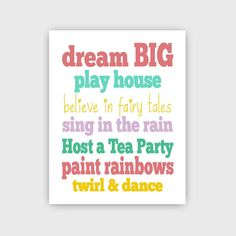 Childrens Kids Girls Art Prints 11 x 14  Dream Big  //  Grey-Multi and Girls Land of Nod Colors // Nursery // Bedrooom // Playroom via Etsy