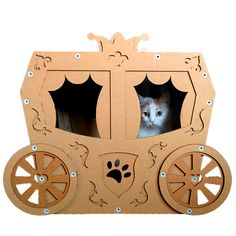 Your furry friend will be the belle of the ball once they take a ride in this adorable cardboard carriage. Your furry friend will be the belle of the ball once they take a ride in this adorable cardboard carriage. Diy Cat Toys, Cardboard Furniture, Cat Furniture, Cardboard Cat House, Cat Cave, Cat Room, Cat Condo, Fluffy Animals, Cat Supplies