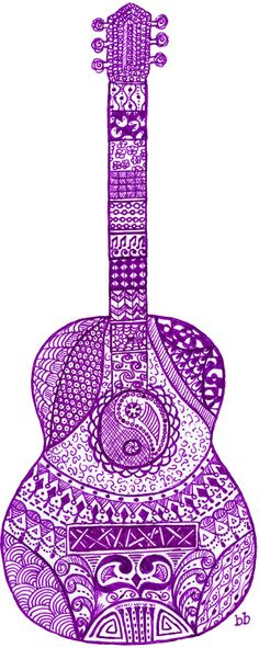 No Apologies for Doodling. Acoustic Guitar Zen Doodle Art.