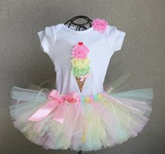 BUTTERMINT Ice Cream Cone SET-- Ice Cream Birthday Bodysuit and Tutu Set with Free Flower Clip, Newborn,1st, 2nd, 3rd, 4th, 5th Birthday