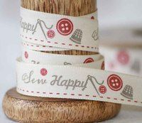 Sew Happy Ribbon 15mm x 20m Col: Natural / Red - Sewing themed ribbon by Berisfords Ribbons