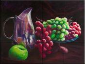 Fruit /Vege decorative tile-Bottle of Red Grapes-Tile Mural Decorative Tile Backsplash, Kitchen Backsplash, Tile Murals, Wall Tiles, Tumbled Marble Tile, Fruit Picture, Fruits Images, Tile Projects, Red Grapes