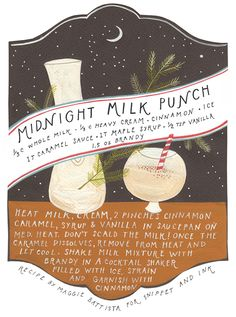 This is probably my favorite recipe card yet from the lovely Rebekka Seale. It feels like Christmas Eve to me! See photos of this cocktail right here. Click HERE to download it as a PDF.