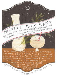 midnight milk punch: 1/3 C whole milk, 1/3 C heavy cream, cinnamon, ice, 1T caramel sauce, 1T maple syrup, 1/2 t vanilla, 1.5 oz brandy. warm all but brandy, then shake w/ brandy & ice, serve