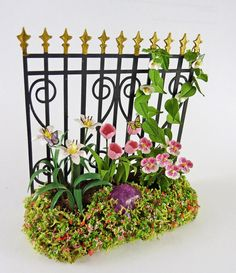 Dollhouse Miniature Artisan Spring Flowers Black Iron Fence Short | eBay