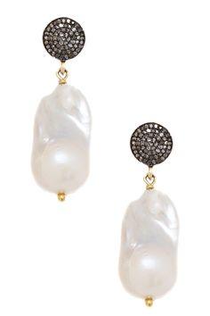 OHHH....Amazing  ...Pave Diamond Baroque Pearl Drop Earrings <3