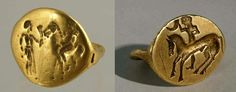 Two Thracian gold rings. The left ring from Brezovo village, Plovdiv region and the right was accidentally discovered near the village Glozhene, Lovech region. 4th c. BC.