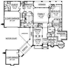 Level 1 drive thru portico garage house plans for House plans with drive through garage