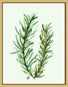 Watercolour Painting Print Wall Art, Title:Rosemary, Printable Art Watercolour Print Painting Print Wall Hanging, Wall Decor Art Print Artwork. This is a fine art giclée print made from my original watercolor painting titled ΄΄ Rosemary . The high quality of watercolor gives in the