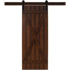 Steves & Sons 36 in. x 90 in. Tuscan II Stained Hardwood Interior Barn Door with Sliding Door Hardware Kit