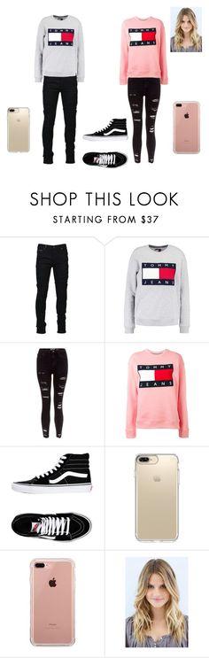 """tommy jeans sweatshirt"" by dasminxoxoquinn on Polyvore featuring Marcelo Burlon, Tommy Hilfiger, Vans, Speck and Belkin"