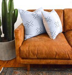 Moonlight Cactus Pillow Cover Indigo Mudcloth Blue by SanJunipero