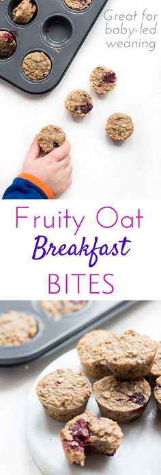Healthy Snacks For Kids Fruity Oat Breakfast bites. Oats baked with fruit in mini muffin trays to make a healthy, hand held breakfast or kids' snack. Also great for blw (baby-led weaning) - Baby Snacks, Toddler Snacks, Baby Food Recipes, Snack Recipes, Muffin Recipes, Toddler Recipes, Detox Recipes, Fingerfood Baby, Baked Oatmeal Cups
