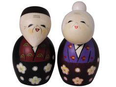 Adorable Hand Made Grandparents Japanese Kokeshi Dolls Set