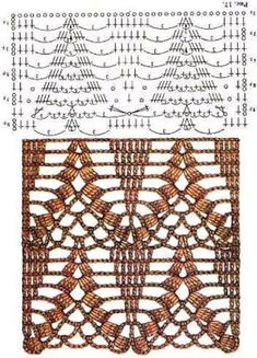 This is is great graph pattern for a long crochet sweater Crochet Stitches Chart, Crochet Motifs, Crochet Borders, Crochet Diagram, Filet Crochet, Crochet Doilies, Crochet Lace, Stitch Patterns, Knitting Patterns